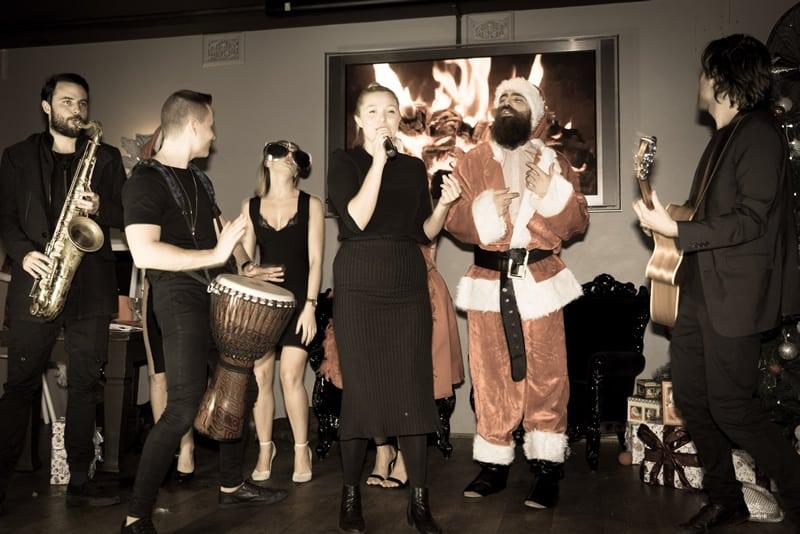 santa and band