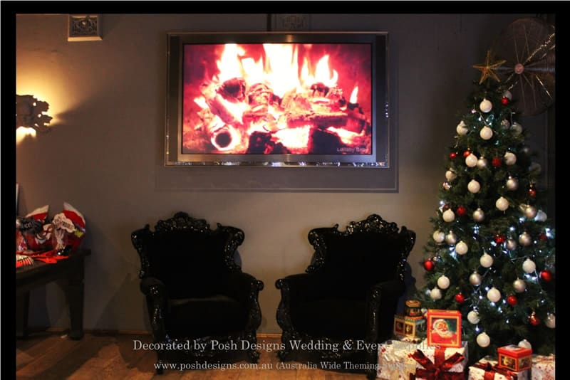 christmas fireplace tv